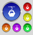 Cableway cabin icon sign Round symbol on bright vector image vector image