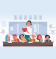 children and teacher cartoon primary school vector image