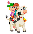 children get into the cow and ride it vector image vector image