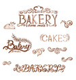 Collection of handwritten vintage retro bakery vector image vector image