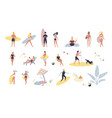 collection of people performing summer outdoor vector image vector image