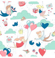 cute characters flying heart balloons seamless vector image vector image