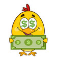 cute yellow chick character holding cash money vector image vector image