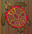 Decorative ornamental turtle with sign colorful vector image vector image
