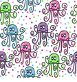 Doodle octopuses vector image