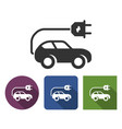 electric car icon in different variants with long vector image
