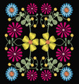 floral pattern over black background vector image vector image