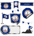 Glossy icons with Virginian flag vector image vector image