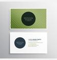 green diagonal wavy lines business card design vector image vector image