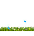 green realistic grass border with colorful vector image