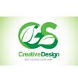 gs green leaf letter design logo eco bio leaf vector image vector image