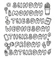 hand drawn weekdays and elements for notebook vector image vector image