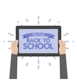 Hand holding sign back to school vector image vector image