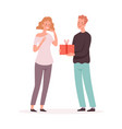 happy woman receives gift husband and wife guy vector image vector image