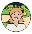 happy young woman in park vector image