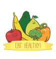 healthy food fruits and vegetables label vector image