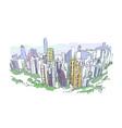 hong kong skyscraper sketch watercolor vector image