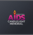international aids candlelight memorial logo icon vector image vector image