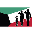 Kuwait soldier family salute vector image