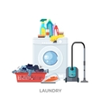 Laundry Washing Machine Vacuum and Detergents vector image vector image