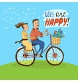 Loving couple riding on a bicycle vector image