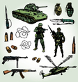 military doodles colorful vector image vector image