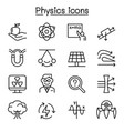 physics icon set in thin line style vector image vector image