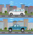 pickup truck and minivan in urban landscape vector image vector image