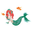 red haired mermaid vector image
