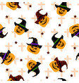 seamless pattern with halloween jack o lantern on vector image vector image