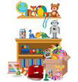 shelf and box full toys on white background vector image vector image