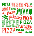 stock set of typographic pizza logo and cover vector image