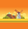 sunset windmill and field vector image