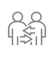two user profile with arrows line icon exchange vector image