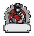 welder with welding tools vector image vector image
