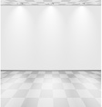 White lightened room with checkered floor vector image vector image