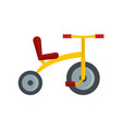 yellow tricycle icon flat style vector image