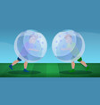 zorb soccer play concept banner cartoon style vector image vector image