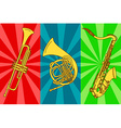 with isolated trumpets and saxophone vector image