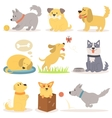 set of funny cartoon dogs characters vector image