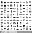 100 logistics icons set simple style vector image vector image