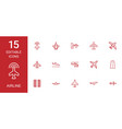 15 airline icons vector image vector image