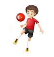 A boy using the ball with the flag of Turkey vector image vector image