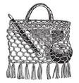 a school-bag make of string vintage engraving vector image vector image