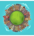 Amsterdam houses little green planet vector image