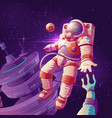 astronaut contact with alien in space vector image vector image