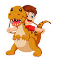 boy with the red cloth using the tyrannosaurus vector image