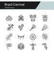 brazil carnival icons modern line design vector image