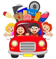 Cartoon family traveling with car vector image vector image