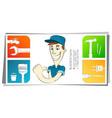 cheerful cartoon handyman business card concept vector image vector image